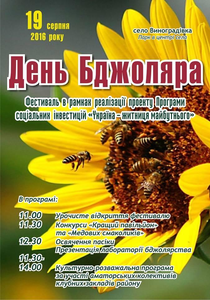 День бджоляра проходитиме у рамках реалізації проекту «Відродження минулого – шлях у майбутнє»