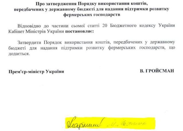 Підпис Максима Мартинюка, який затверджує порядок використання коштів