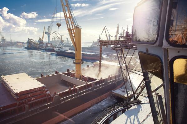 Завантаження зерна у порту