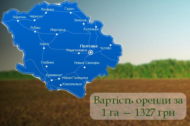 Лідер за розміром орендної плати в Україні — Полтавська область