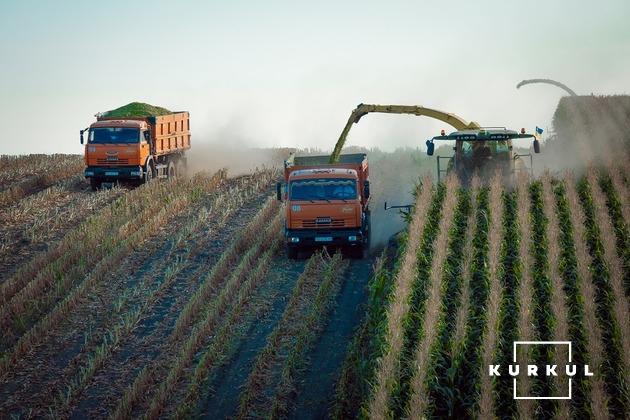 Техніка господарства «Україна» під час збирання кукурудзм