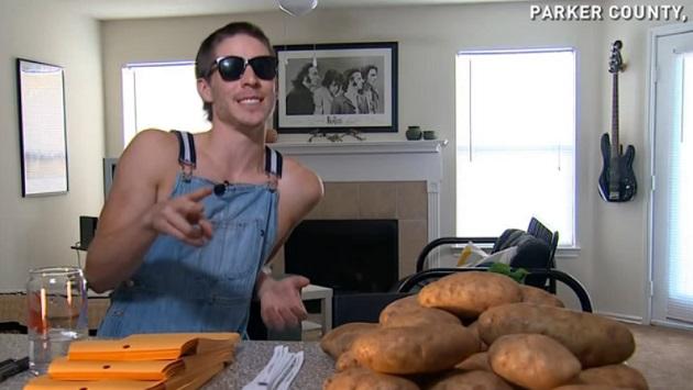 Техасець відправляє повідомлення на картоплі